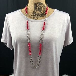 Red & Silver Cora link set with matching earrings